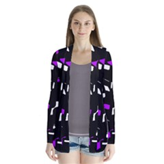 Purple, Black And White Pattern Drape Collar Cardigan by Valentinaart