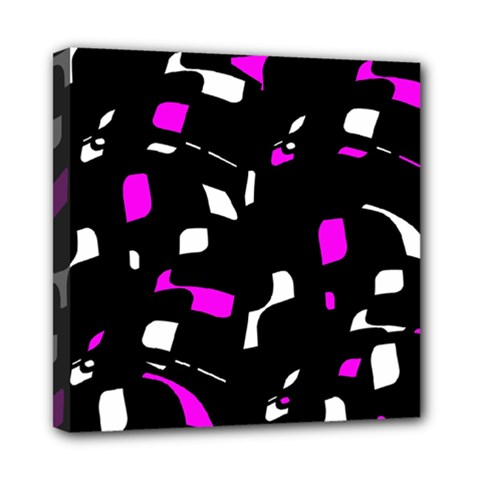 Magenta, Black And White Pattern Mini Canvas 8  X 8  by Valentinaart