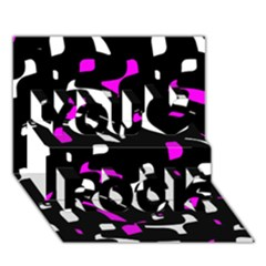 Magenta, Black And White Pattern You Rock 3d Greeting Card (7x5)  by Valentinaart