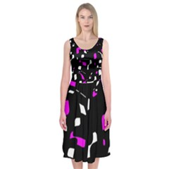Magenta, Black And White Pattern Midi Sleeveless Dress