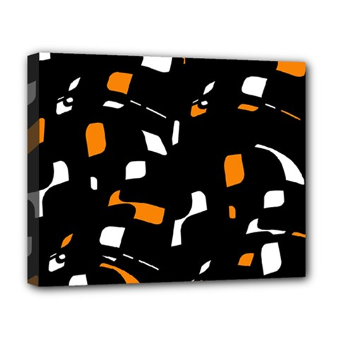 Orange, Black And White Pattern Deluxe Canvas 20  X 16   by Valentinaart