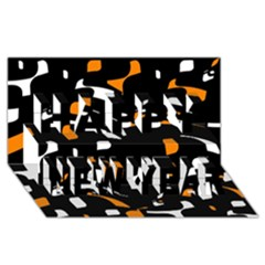 Orange, Black And White Pattern Happy New Year 3d Greeting Card (8x4)  by Valentinaart