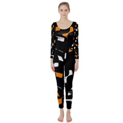 Orange, Black And White Pattern Long Sleeve Catsuit by Valentinaart
