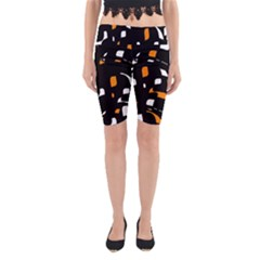Orange, Black And White Pattern Yoga Cropped Leggings by Valentinaart
