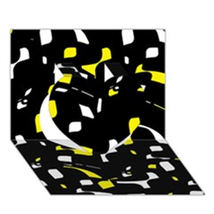 Yellow, Black And White Pattern Heart 3d Greeting Card (7x5)  by Valentinaart