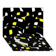 Yellow, Black And White Pattern Circle Bottom 3d Greeting Card (7x5)  by Valentinaart