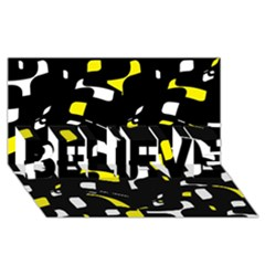 Yellow, Black And White Pattern Believe 3d Greeting Card (8x4)  by Valentinaart