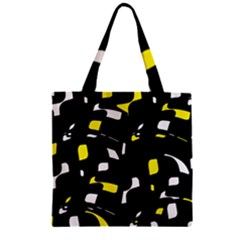 Yellow, Black And White Pattern Zipper Grocery Tote Bag by Valentinaart