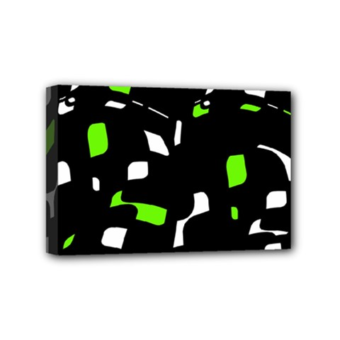 Green, Black And White Pattern Mini Canvas 6  X 4