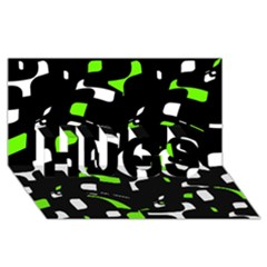 Green, Black And White Pattern Hugs 3d Greeting Card (8x4)  by Valentinaart