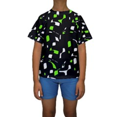 Green, Black And White Pattern Kid s Short Sleeve Swimwear