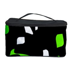 Green, Black And White Pattern Cosmetic Storage Case by Valentinaart
