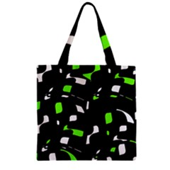 Green, Black And White Pattern Zipper Grocery Tote Bag by Valentinaart