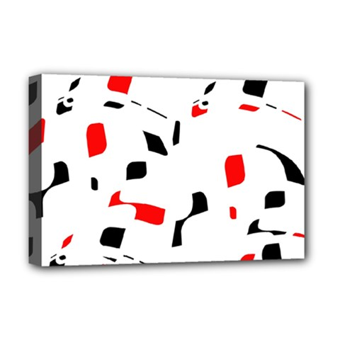White, Red And Black Pattern Deluxe Canvas 18  X 12   by Valentinaart