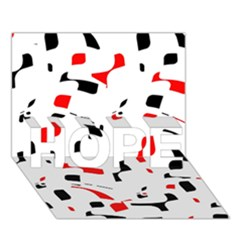 White, Red And Black Pattern Hope 3d Greeting Card (7x5)