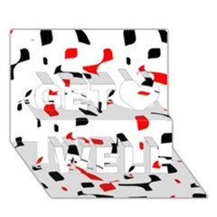 White, Red And Black Pattern Get Well 3d Greeting Card (7x5)  by Valentinaart