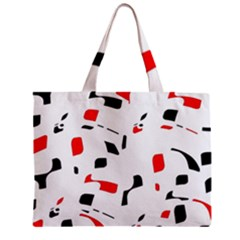 White, Red And Black Pattern Zipper Mini Tote Bag by Valentinaart