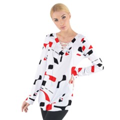 White, Red And Black Pattern Women s Tie Up Tee by Valentinaart