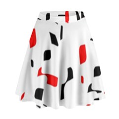 White, Red And Black Pattern High Waist Skirt by Valentinaart