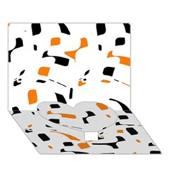 Orange, White And Black Pattern Heart Bottom 3d Greeting Card (7x5)  by Valentinaart