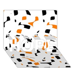 Orange, White And Black Pattern Hope 3d Greeting Card (7x5)  by Valentinaart