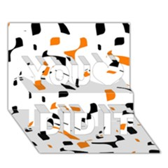 Orange, White And Black Pattern You Did It 3d Greeting Card (7x5) by Valentinaart