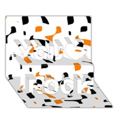 Orange, White And Black Pattern You Rock 3d Greeting Card (7x5)  by Valentinaart
