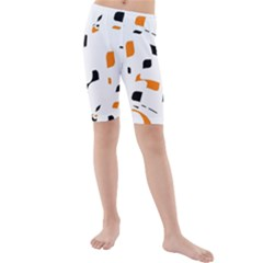 Orange, White And Black Pattern Kid s Mid Length Swim Shorts by Valentinaart