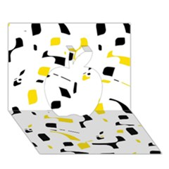 Yellow, Black And White Pattern Apple 3d Greeting Card (7x5)