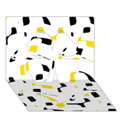 Yellow, Black And White Pattern Clover 3d Greeting Card (7x5)  by Valentinaart