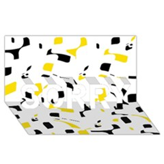 Yellow, Black And White Pattern Sorry 3d Greeting Card (8x4)