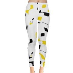 Yellow, Black And White Pattern Leggings  by Valentinaart
