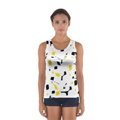 Yellow, Black And White Pattern Women s Sport Tank Top  by Valentinaart