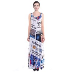 Hillary 2016 Historic Newspaper Collage Sleeveless Maxi Dress by blueamerica