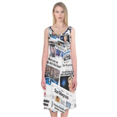 Hillary 2016 Historic Newspaper Collage Midi Sleeveless Dress by blueamerica