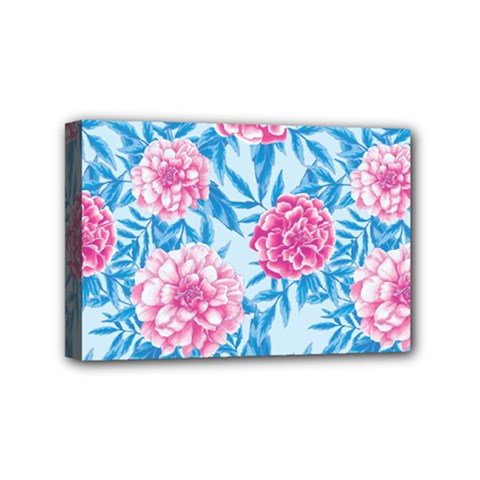 Blue & Pink Floral Mini Canvas 6  X 4  by TanyaDraws