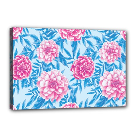 Blue & Pink Floral Canvas 18  X 12  by TanyaDraws