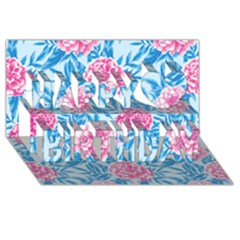 Blue & Pink Floral Happy Birthday 3d Greeting Card (8x4)  by TanyaDraws