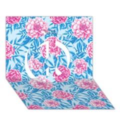 Blue & Pink Floral Peace Sign 3d Greeting Card (7x5)  by TanyaDraws