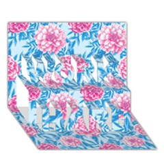 Blue & Pink Floral Work Hard 3d Greeting Card (7x5)
