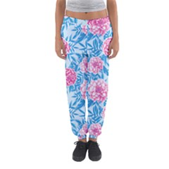 Blue & Pink Floral Women s Jogger Sweatpants by TanyaDraws