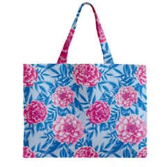 Blue & Pink Floral Zipper Mini Tote Bag by TanyaDraws