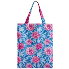 Blue & Pink Floral Zipper Classic Tote Bag by TanyaDraws