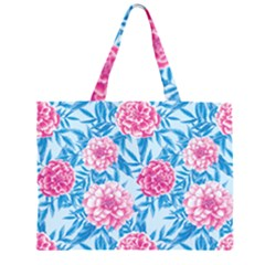 Blue & Pink Floral Zipper Large Tote Bag by TanyaDraws