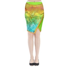 Watercolor Midi Wrap Pencil Skirt by Wanni
