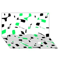 Green, Black And White Pattern Twin Heart Bottom 3d Greeting Card (8x4) by Valentinaart