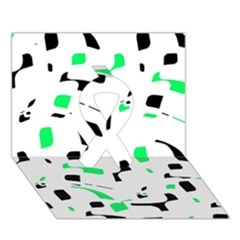 Green, Black And White Pattern Ribbon 3d Greeting Card (7x5) by Valentinaart