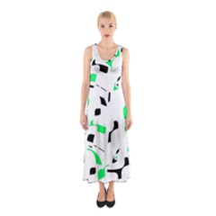 Green, Black And White Pattern Sleeveless Maxi Dress by Valentinaart