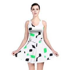 Green, Black And White Pattern Reversible Skater Dress by Valentinaart