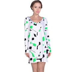 Green, Black And White Pattern Long Sleeve Nightdress